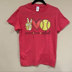 Red Gildan Softball Printed T shirt size Small